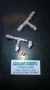 Raccordo giunto a T serraggio ad ogiva ø est. 6 mm x tubi metallici-rilsan-ecc.