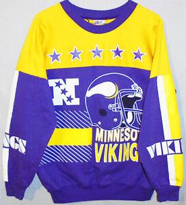 1980's -Minnesota Vikings- Vintage Garan NFL Football All-Over Sweatshirt