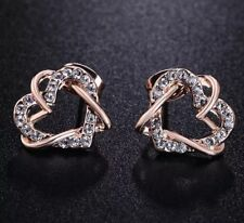 80ab2f8f62 Exquisite rose gold plated double heart Austrian crystals stud earrings