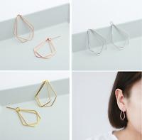 Bohemian Gold over Sterling Silver Pentagon Shape Drop Dangle Stud Earrings D27