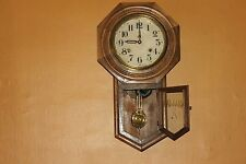 Antique Schoolhouse Regulator Clock With Pendulum  1880-1910  Registered