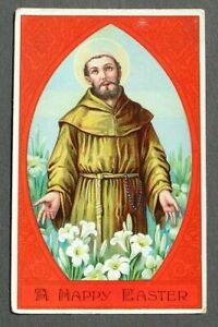 Religious Easter postcard 1915 Halo Lilies
