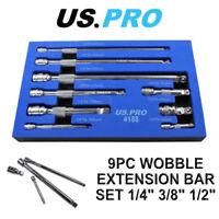 US PRO Tools 9pc Wobble Bar Extension Set 1/4 3/8 1/2 Dr 4188