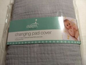 """Aden & Anais changing pad cover nip Solid dyed grey, 33"""" x 17"""""""