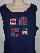 Denim Jumper Dress XL Women 18 Koret City Blue Sleeveless Cotton Christmas 6r144