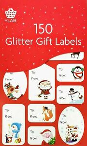 150x Christmas Glitter Gift Labels - Traditional, Fun & Kid Designs