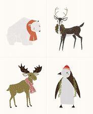 MERRILY Craft Quilt Blocks Fabric Panel / Moda Holiday Bear Moose Penguin Deer