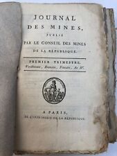 JOURNAL DES MINES PAR CONSEIL DES MINES  REPUBLIQUE VENDEMIAIRE  1795 C1823