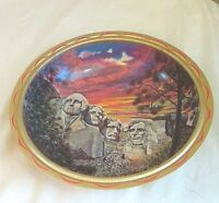 Vintage Ken Haag Metal Serving Bowl Mount Rushmore Souvenir Free Shipping!