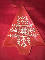 "VTG Hausenware 8¼"" Christmas Tree Candy Dish by Libby Wilkie Red&White Snowflake"