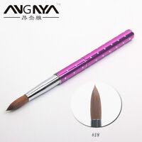 18# Nail Art Acrylic Brush Purple Metal Handle Sable Hair Professional Nail Tool