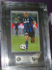 "Wesley Sneijder unsigned Inter Milan 8""x10"" photo framed with plaque"