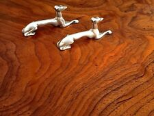 Rare Pair of Art Deco Style Sterling Silver Knife Rests: Recumbent Hounds