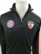 FC Bayern Munchen adidas Mens S Black Soccer 1/4 Zip Track Jacket Football GPS