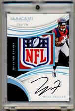 2016 Panini Immaculate Rookie Patch Autograph WILL FULLER RC Auto NFL Shield 1/1