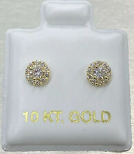 14K Authentic Gold Iced Out Round Cluster CZ Stud Hip Hop Earrings/ 5mm Diameter
