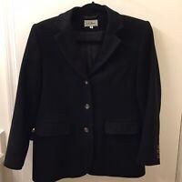 Vtg LL Bean Womens Size 6 Blazer Jacket Button Wool Cashmere Black Made In USA