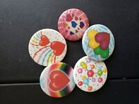 Vintage Collectible Pin Back Buttons Lot of 5 Hearts, Rainbows, Love