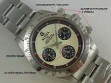 ALPHA WATCH DAYTONA PAUL NEWMAN GLOSSY BEZEL MECHANICAL 3 REGISTERED CHRONOGRAPH