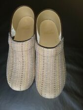 DANSKO TAN FABRIC CLOGS Woven Dots Professional Comfort (Size 8) MSRP $114.98