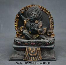 "4"" Rare Old Tibet Buddhism Temple resin Mahakala Wrathful Deity Buddha Statue"