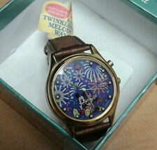 Lorus Disney Twinkling Melody Watch w/ Mickey & Minnie/Brown Leather Band