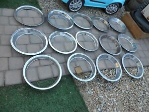 """Lot of 14 Vintage Chrome & Stainless Wheel Beauty Rings 14"""" 15"""" Chevy Ford Dodge"""
