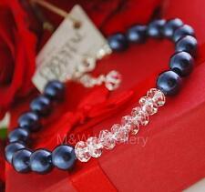 Pulsera de plata esterlina 925 cristales de Swarovski ® Perla noche azul