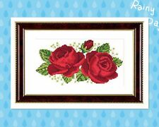 New 11ct Needlework Needlepoint - Counted Cross Stitch Kits Red Rose 35x24cm