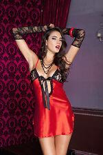 XL Red Satin Black Trim Deep V Tie Front Chemise & G-String Sexy Lingerie P56123