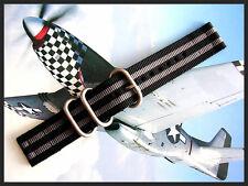 NEW 24mm Black-Grey 2pc. UTC g10 RAF flieger strap NATO band IW SUISSE 18-20-22