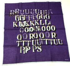 "Paul Smith Violet & Bleu ""Lettre Press"" Bandana L=64cm W=62cm Made In Italy"