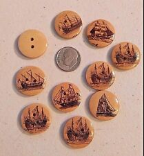 """Lot of 10 SAILING SHIPS 2-hole Wood Buttons 3/4"""" 20mm Scrapbook (1492) Nautical"""