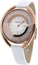 Swarovski Crystalline Oval 1700 Crystals White Leather Watch 5230946 New in Box