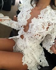 White lace plunge dress sexy V Neck Long Sleeves Holiday Dress Set Top and Botto
