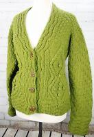 THE BETTER SWEATER Cardigan Cable Knit Sweater Women's Alpaca Merino Wool Green
