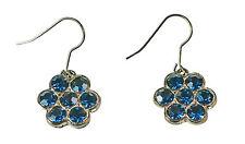 Elegantes señoras Gun Metal / contrastantes Azul Aretes Tema Floral (Zx9)