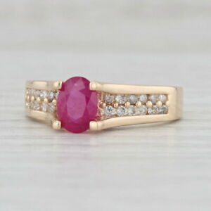 New 1.02ctw Ruby Diamond Ring 14k Yellow Gold Size 7.25 Oval Cut Solitaire