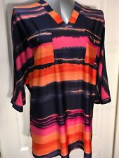 Cocomo Woman Orange Pink Blue Tunic Top Blouse Stretchy L/XL
