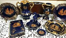 More details for collection of dark blue and gold limoges / fragonard / castel, 9 pieces, all...
