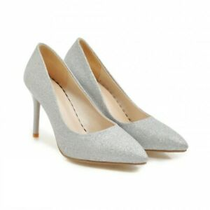New Women's Pointy Toe Slip On Stiletto High Heel Business Pumps Shoes 42 43 D