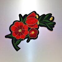 Red Flowers Patch — Iron On Badge Embroidered Motif Applique — Flower Cute