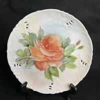 """Vintage Hand Painted 8.75"""" Decorative Plate Large Red Rose Embossed Signed Darn"""