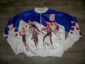 Vtg 1992 USA Olympics Basketball Bird Robinson Stockton Jacket Coat Size Large