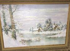 Willi Bauer Untitled Original Winter Landscape Scene Oil Painting on Canvas