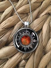 Fire Shield Gamer Cosplay Armor Warrior Glass Pendant Silver Chain Necklace NEW