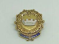 Vintage 1987 Fattorini Gilt Sterling Silver 'Prodesse Civibus' Crown Badge