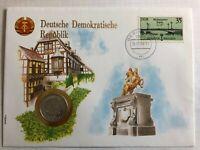 Numisbrief DDR Berliner Brücken 1989 Münze 1 Mark 1981 UN Serie Nationen Worbes