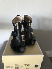 Michael Kors Berkley T-strap Crinkled  Black Patent  Lthr Zipper Sandal 9.5M.