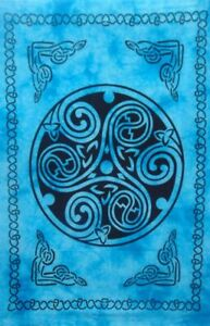 Triskele Sign Design Tapestry Small Wall Hanging Poster Cotton Table Cover Blue